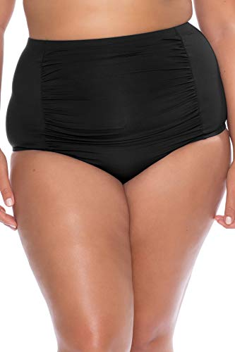 Becca Etc by Rebecca Virtue Women's Plus Size High Waist Bikini Bottom Black 1X