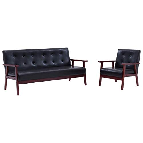 Goliraya Juego de sofás 2 Piezas de Cuero sintético Negro Sofás de salón