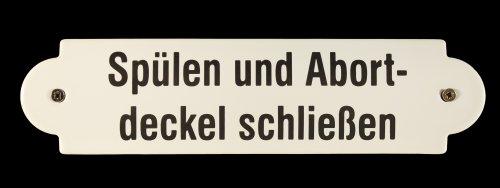 BBV Emaille Schild Spülen und Abortdeckel schließen 20x5 cm wetterfest und lichtecht Emailleschild