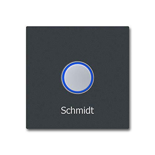 Deurbel roestvrij staal KT21 antraciet belknop verlicht incl. naambelettering LED blauw