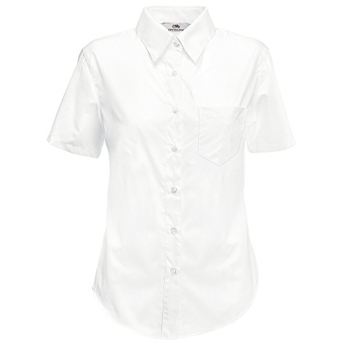 Fruit of the Loom Poplin Bluse Kurzarm Lady-Fit - Farbe: White - Größe: L