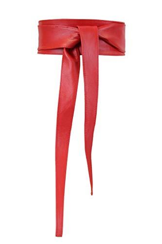irisaa Damen Leder Taillengürtel Breiter Obi Gürtel Wickelgürtel Echtleder Bindegürtel Hüftgürtel Party Gürtel aus Italien, Damen Taillengürtel 2020:Rot