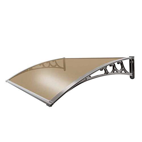 Vordach Haustür Pultbogenvordach Bogen Vordach Türdach Silent Rainproof Anti-Taifun Überdachung Polycarbonat mit Einer Tiefe von 60 cm / 80 cm / 100 cm / 120 cm (Color : Brown, Size : 80x150cm)