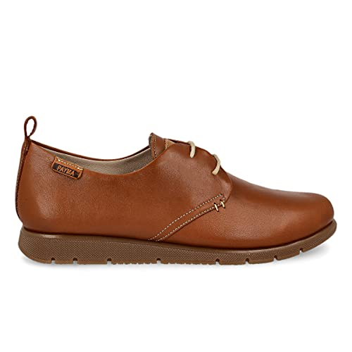 PAYMA - Zapatillas Deportivas Sneakers de Piel para Mujer. Zapatos Planos Casual Blucher. Cierre Cordones. Piel Super Flexible. Máxima Comodidad. Color Cuero, Azul Marino, Rojo, Negro y Blanco.