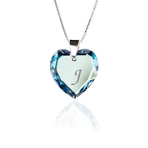 Kristallwerk Kinderkette 925 Silber mit Swarovski Elements Herzanhänger Farbe Blue AB und Gravur Buchstabe J als Geschenk oder zum Geburtstag