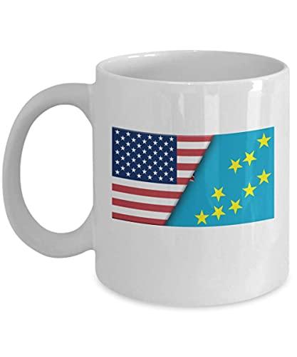 Kaffeetasse mit USA-Tuvalu-Flagge, 325 ml, Weiß