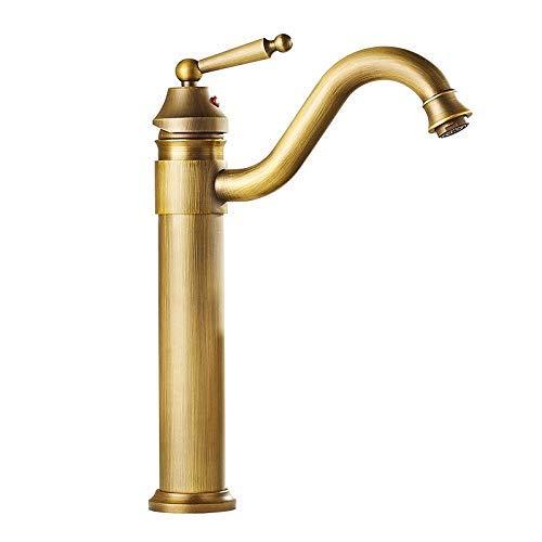Grifo Grifo de lavabo de agua plateado Grifo de lavabo completo de bronce antiguo Continental Grifo de agua fría y caliente Aumento de un solo orificio en el escenario Grifo de lavabo Grifo de la ven