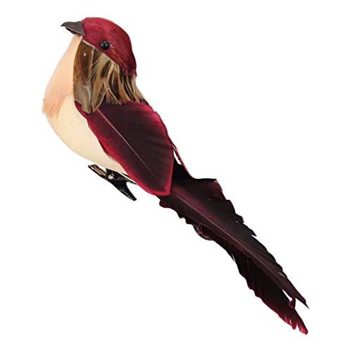 perfk Figurine Oiseau Sauvage Ornements pour Maison Accessoire Déco - Vin Rouge