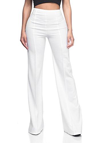 Women's High Waist Dress Flare Pants (Sheer Light Colors), Small, White