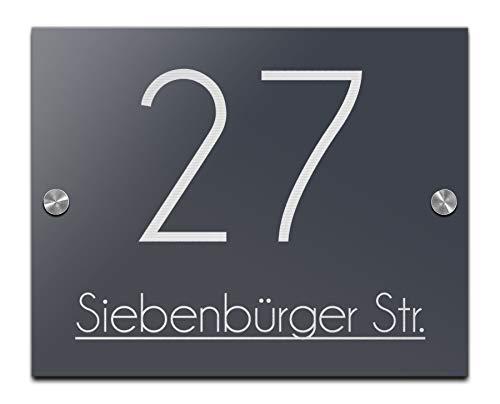 Hausnummer Namensschild mit Gravur Schild aus Hochglanz-Acrylglas Familienschild Türschilder für die Haustür 25x20 cm