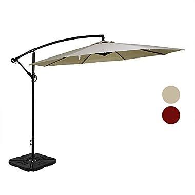 Tourke Patio 10' Hanging Offset Umbrella Outdoor Cantilever Market Umbrella with Crank, 8 Steel Ribs (Beige)