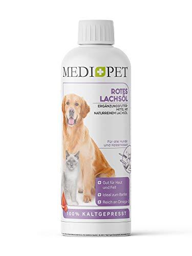 Medidog 1 Liter Rotes Premium Lachsöl für Hunde und Katzen, Lebensmitelqualität, reich an Omega-3 Fettsäuren EPA, DHA, ALA, Lachsöl Hunde kaltgepresst, Fischöl Hund, Barf Öl
