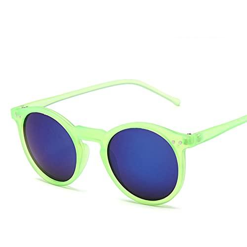 YWSZY Gafas de Sol Retro arroz Clavo Redondo Ladies Gafas de Sol Gafas Lente Marina UV400 (Lenses Color : GreenBlue)