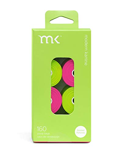 Modern Kanine 160-Count Poop Bags, Scented Dog Waste Bags, Green and Pink