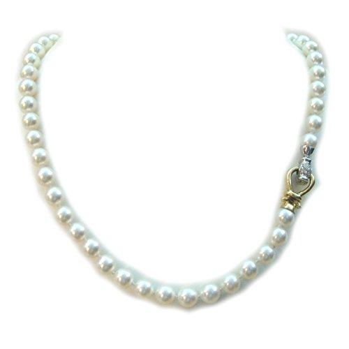 Orelù - Collana Filo Perle Acqua salata AKOYA 8-8,5 Oro Bianco e Giallo 18 kt carati e Diamanti
