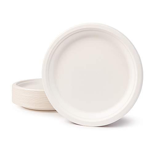 BIOZOYG Vaisselle à Base Bagasse I 50 pièces dassiettes du Canne de Sucre Blanche Ronds décolorée 26 cm I Bio jetable Vaisselle, Menu Plats et jetable fête Assiette