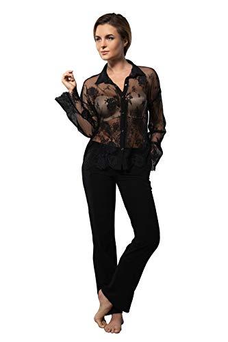 Millesime Lingerie TOP Shirt Damen Bluse Schwarzes Topmit Spitze Homewear TransparentOberteil Sexy Top mit Spitze Schlafanzug Damen Nachtwäsche Große Größe Sexy Frauen Pyjama Damen Plus Size Top