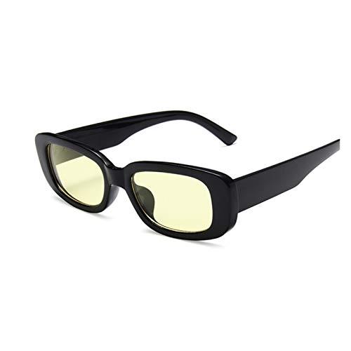 QQGGTongFeng Clásico Vintage Negro Square Gafas de Sol Mujer de Lujo Marca de Lujo pequeño rectángulo de Sol Gafas de Sol Femenino gradiente Claro Espejo para Exterior (Lenses Color : Black Yellow)