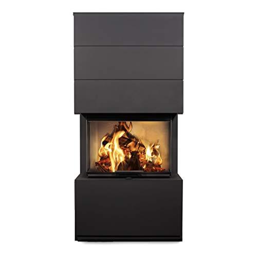 Cera System-Kamin KLC 3-seitig schwarz, Abgang hinten