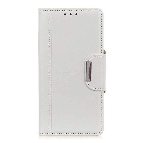 Galaxy S10 Plus Hülle, DENDICO Premium Leder Flip Schutzhülle für Samsung Galaxy S10 Plus, Handy Ledertasche mit Magnetverschluss und Kartensteckplätze - Weiß