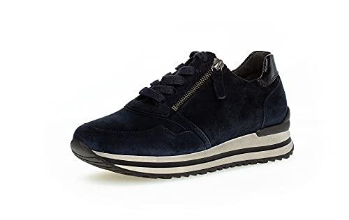 Gabor Damen Low-Top Sneaker, Frauen Halbschuhe,Wechselfußbett,Komfortable Mehrweite (H),Sportschuhe,Turnschuhe,Dark-Blue,38.5 EU / 5.5 UK