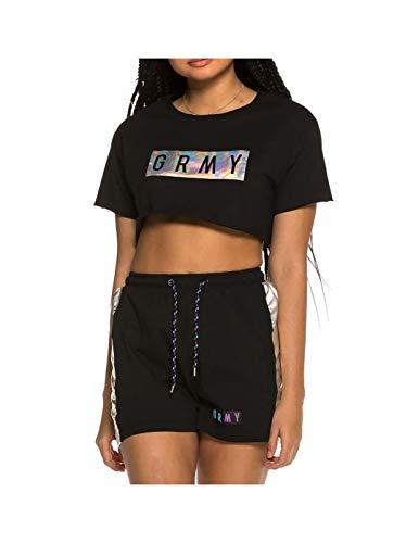 GRIMEY Camiseta Chica Fluid Planet Crop Top SS19 Black-M