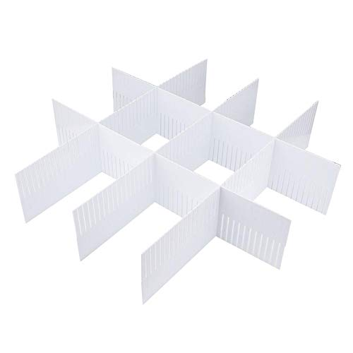 VIFER 5Pcs DIY Drawer Organizer Verstellbare Schubladenunterteilungen Schubladenunterteiler Organizer White DIY Plastic Grid(50 * 11cm(5Pcs))