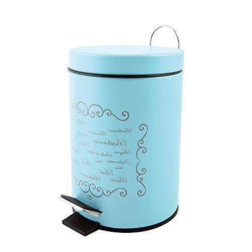 MSV Cubo de Basura con Pedal 3 L, Acero Inoxidable, Azul, 30 x 20 x 15 cm