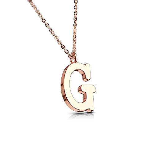 Bungsa Alphabet Letter A-Z in Silver or Rose Gold Pendant Necklace Women's Necklace – Stainless Steel – for Women, Men and Women's Necklace – A B C D E F G H I J K L M N O P R S T U V W Z