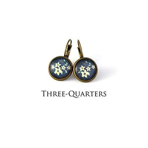 Ohrstecker mit Blumen, blau weiß,Edelweiß, bronze,Ohrringe