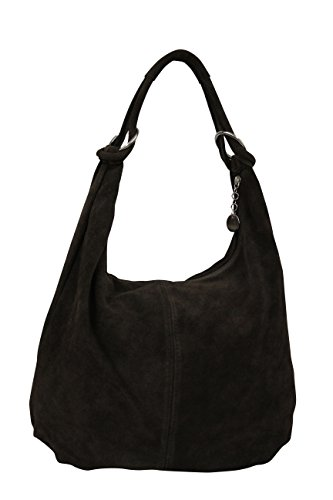 AMBRA Bolsa de mano para mujer, de piel de ante, Hobo-Bags, bolso de piel, bolsa de compras, DIN-A4 42 cm x 35 cm x 4 cm, WL803, color Negro, talla XX-Large