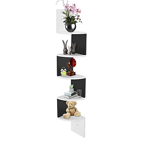 Estantería esquinera decorativa de madera, estantería de pared, estantería de libros, estantería esquinera, separador de 5 capas, color blanco y negro, unidad de almacenamiento para salón, dormitorio