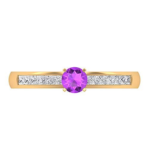 Anillo de compromiso de diamantes HI-SI de 4 mm creado en laboratorio, anillo de compromiso, anillo solitario con piedras laterales 1,50 x 1, 18K Oro amarillo, Size:EU 65
