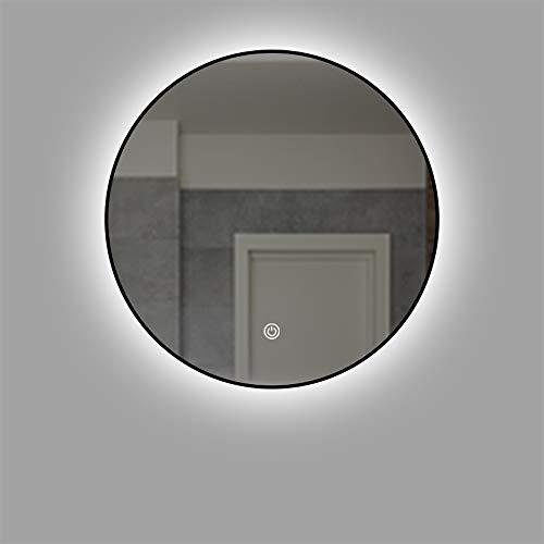 Lámpara LED de aleación de aluminio Espejo de baño redondo Espejo de baño montado en la pared Espejo de baño con retroiluminación inteligente 50 * 50/60 * 60/70 * 70/80 * 80cm Espejo antiniebla con