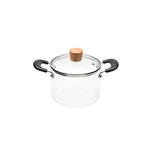 Juego de utensilios de cocina de vidrio transparente de doble oreja de vidrio con tapa resistente al calor, asas de gran capacidad de inducción, estufas de gas abierto fuego 1,3 l