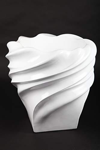 point home Blumentopf, Pflanzkübel, Pflanzgefäß aus Fiberglas, weiß, 46,5cm - für Innen