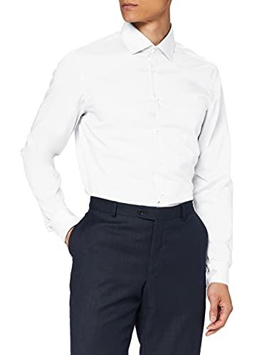 Seidensticker Herren Business Hemd Slim Fit Businesshemd, Weiß (Weiß 01), (Herstellergröße: 45)