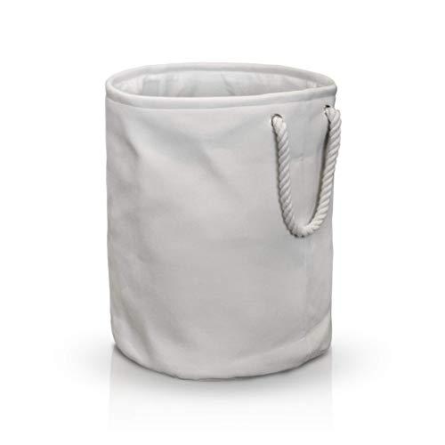 HOEL Wäschekorb faltbar - Premium Aufbewahrungskorb aus Baumwolle und Leinen - Wäschesack in cremeweiß mit großem Volumen - Wäschesammler für Badezimmer, Wohnzimmer, Schlafzimmer