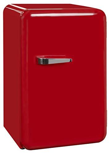 Exquisit Mini-Kühlschrank RKB 60-14 A++Rot | Retrostyle | 70 Liter | Glastür | 3 Glasablagen | Rot
