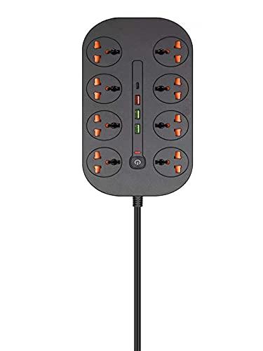 LSR Regleta Enchufes, Regleta De 8 Enchufes 2 Enchufes USB Toma De Corriente con Protección contra Sobrecargas Y Interruptores 1 Type-C 1 PD20W 1 QC3.0 3000W 5V 16A 2M para Hogar Oficina, Negro