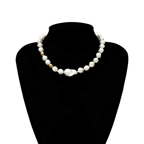 TREW Fashion Multilayer White Imitatie Parel Choker met metalen Slice Fixatie Wide Bib Ketting Sieraden for Charm Vrouwen (Metal Color : Necklace 5)