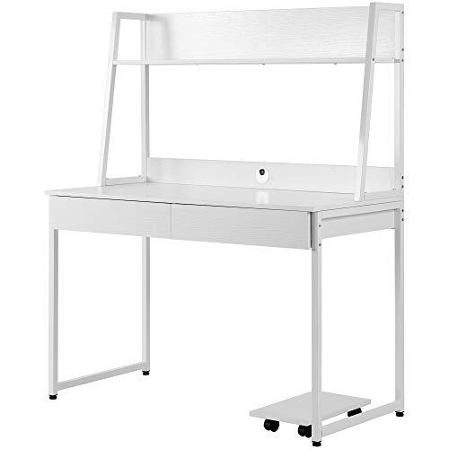belupai Escritorio de madera MDF y acero, mesa de trabajo para oficina, hogar, mesa de ordenador con estantes, 2 cajones, estantes para libros y fotos, gran superficie 120 x 55 x 145 cm (blanco)