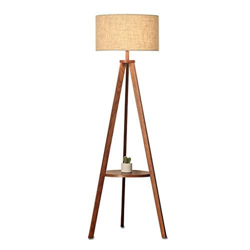 LY88 Light Tripod Opslagruimte Vloerlamp Nordic Japanese-Style Verticale Houten Lamp Kleur: Bruin