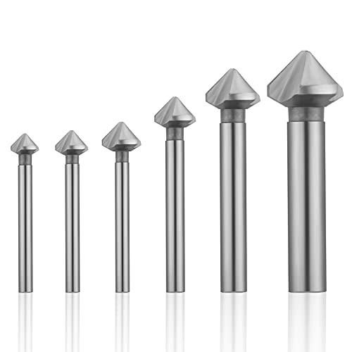 PROGARMENTS Juego de 6 avellanadores cónicos de metal HSS de 90°, 6,3 – 20,5 mm con revestimiento de titanio y broca de posicionamiento precisa para la perforación de placa aislante (plateada).