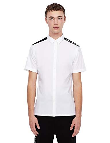 ARMANI EXCHANGE Recycled Stretch Cotton White/Black/Navy Shirt Camicia, Bianco/Nero/Blu Marino, M Uomo