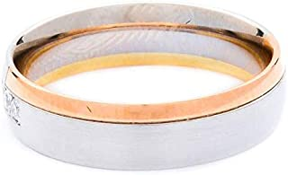 Breuning 18K White/Yellow/Rose Shiny & Matte Finish 0.06ct Round cut Diamond Wedding Ring [BR6209]