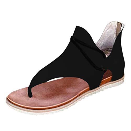 TAMALLU Sandalen Frauen Sommer Einfarbig Clip-Toe Schuhe Reißverschluss Casual Strand Flach Bequeme Knöchelsandalen für Damen(40,Schwarz 1)