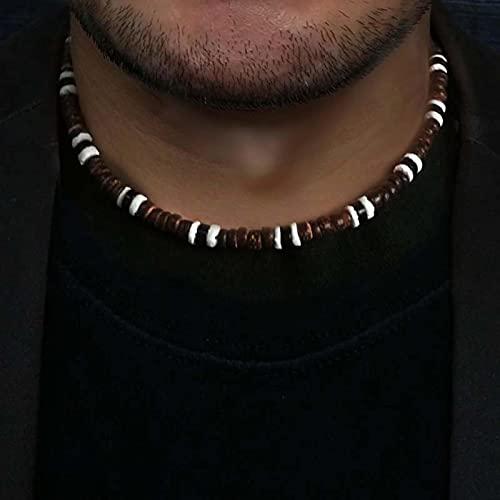 liuliu Collar de Cuentas rústico Vintage de Moda para Hombre, Collar de Surfista de Concha de Coco Natural para Hombre, Regalo de joyería Tribal para él