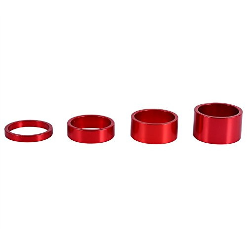 Yosso Bike Headset Spacer Aluminum Alloy Stem Spacers Fork Washer 4Pcs/Set 5mm/10mm/15mm/20mm(Red)