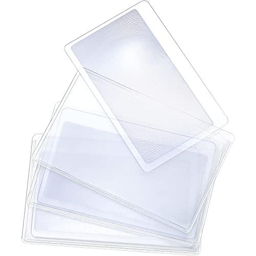 3 Lupas de Tamaño de Tarjeta de Crédito Lente Fresnel de Aumento Lente de Lupa de Lectura Lupa de Bolsillo de Plástico Lupa 3X de Tarjeta Ayudar Lectura para Arrancador Fuego, Transparente 🔥